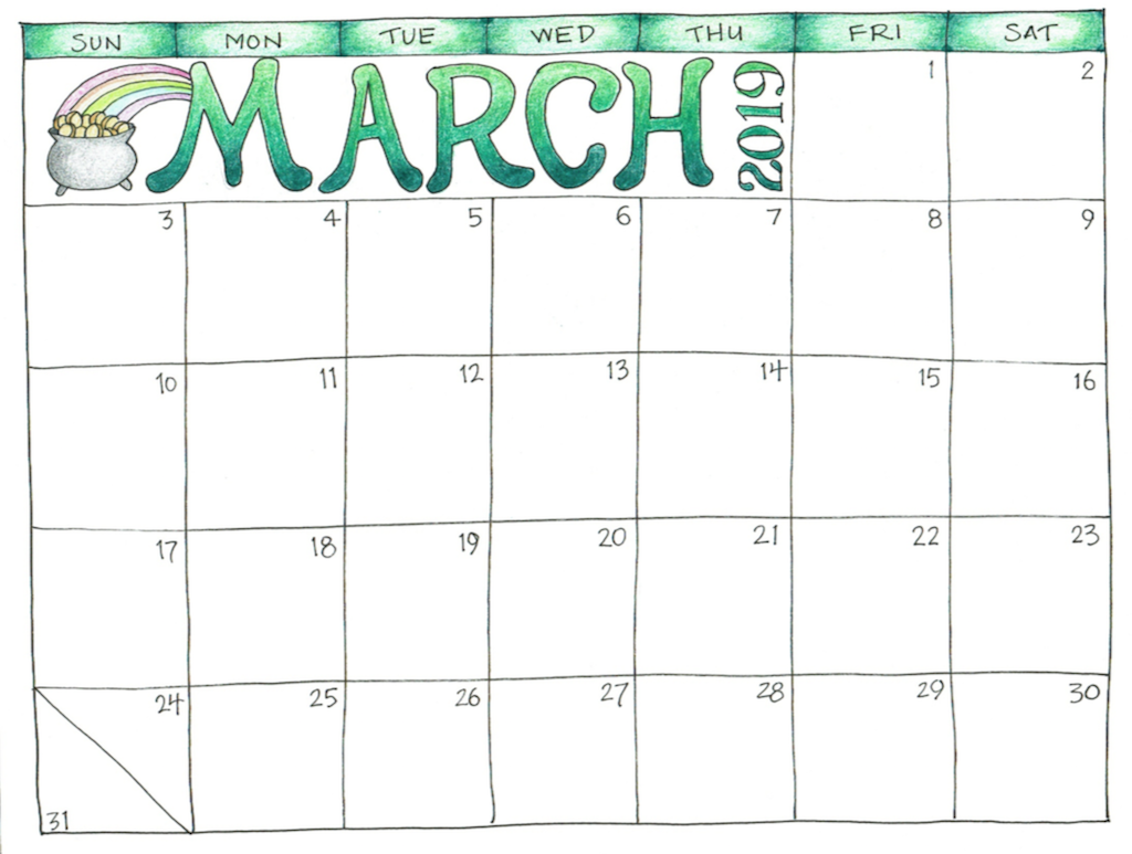 Printable Calendar March 2019.Free March 2019 Calendar Printable Template With Holidays