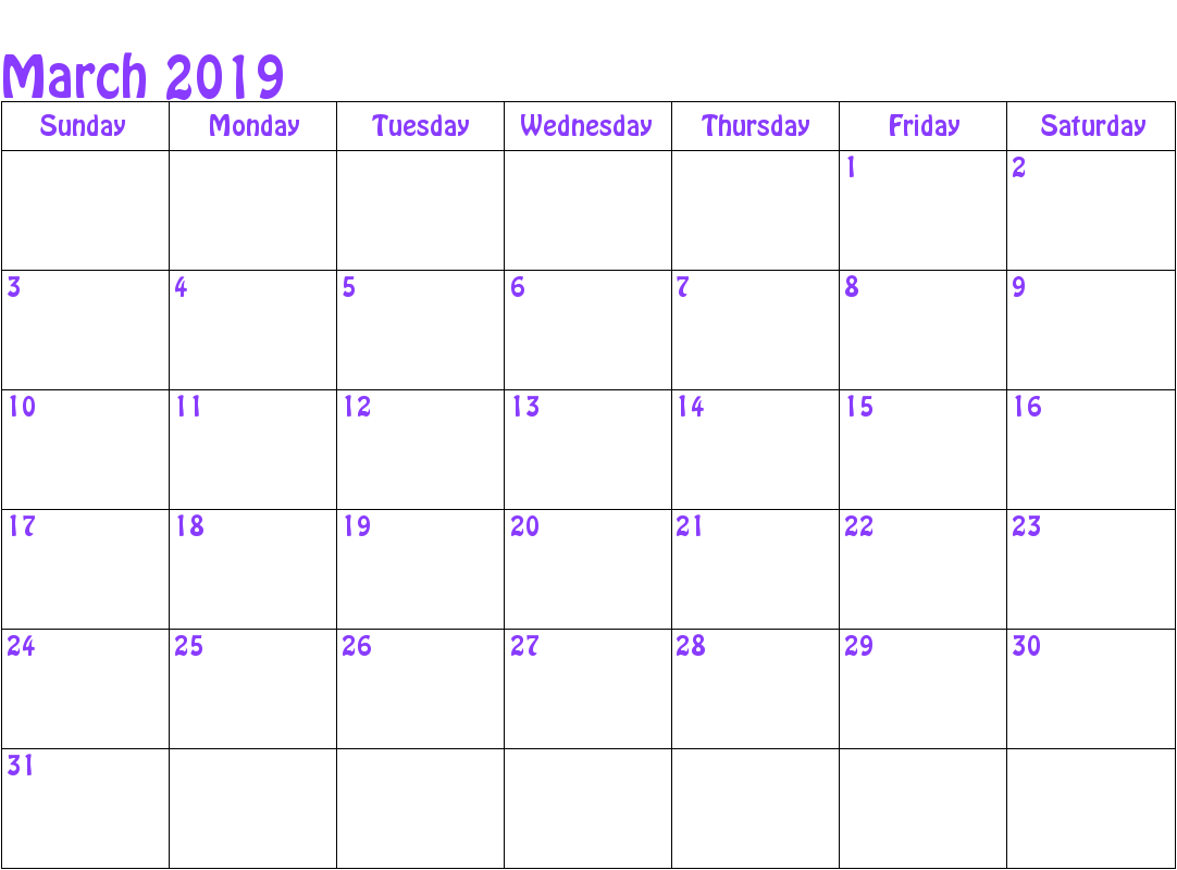 Printable Calendar Template March 2019