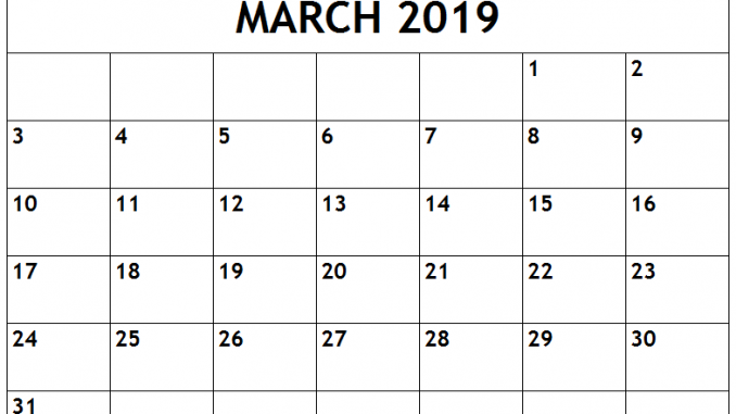 photograph about Word Fill in Printable identified as Blank Printable March 2019 Calendar Template Term Report