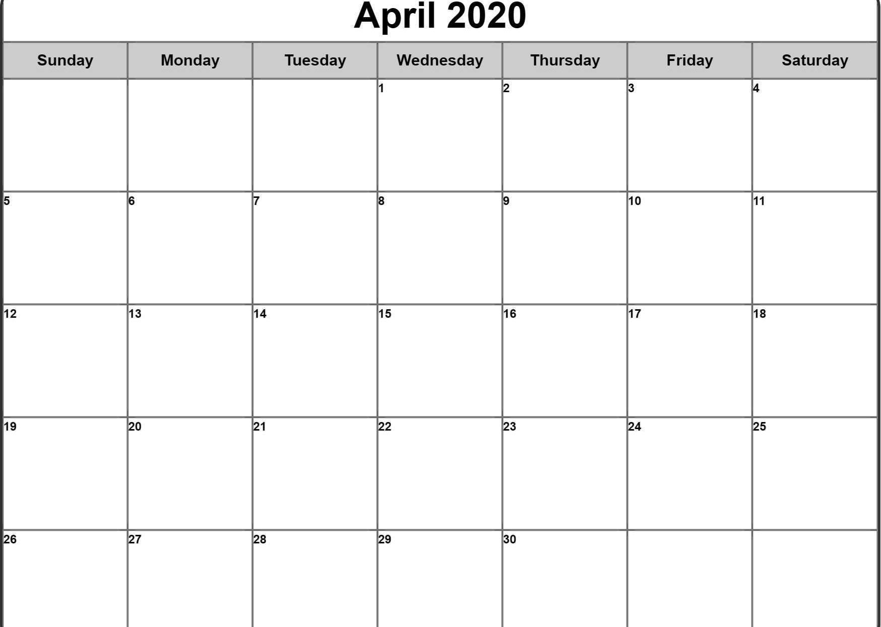 2020 April Calendar