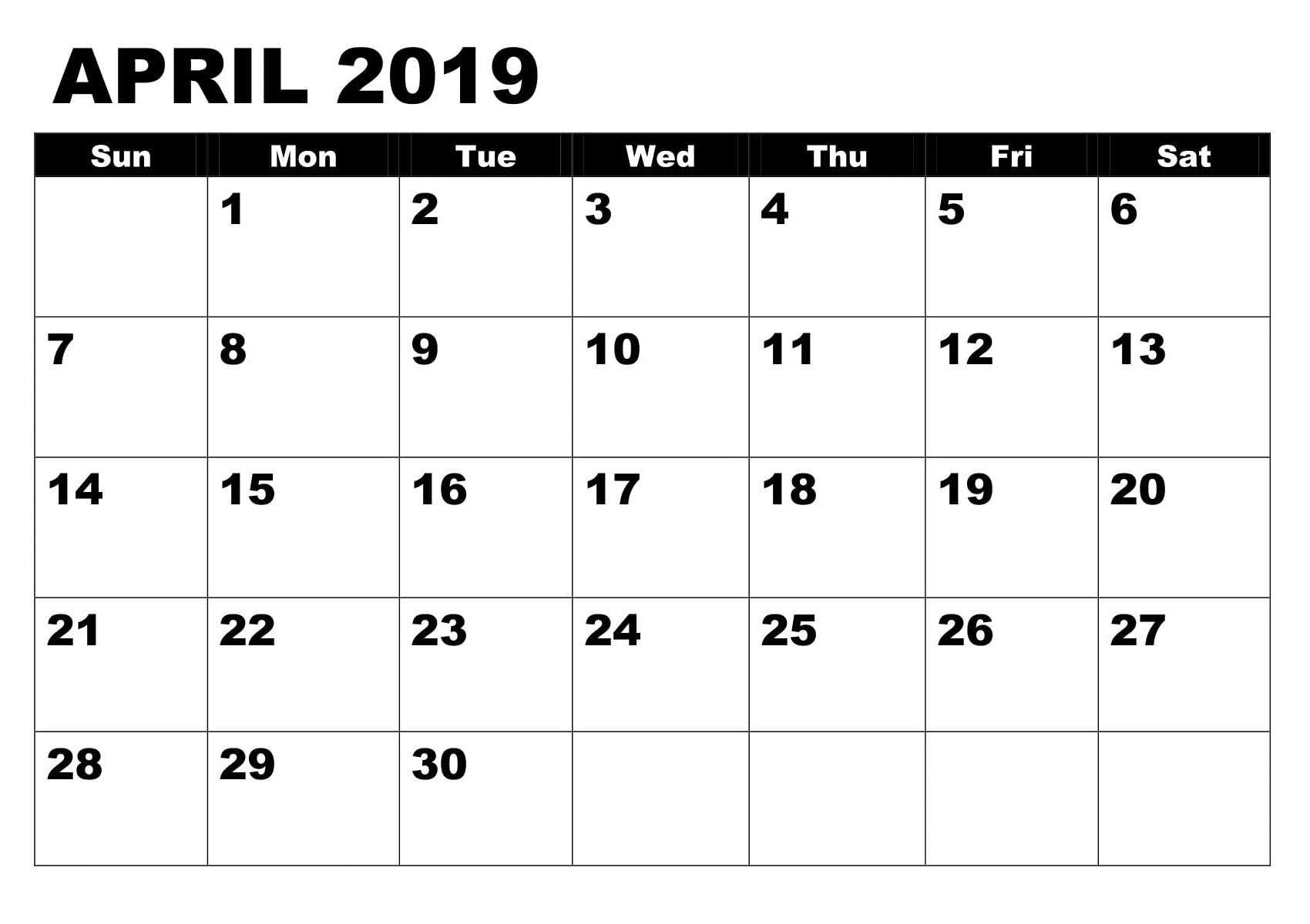 April 2019 Calendar Template PDF