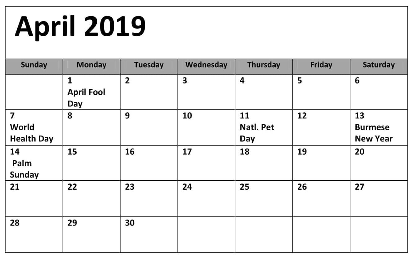 April 2019 Calendar With Holidays India