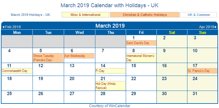 April 2019 Calendar With Holidays UK