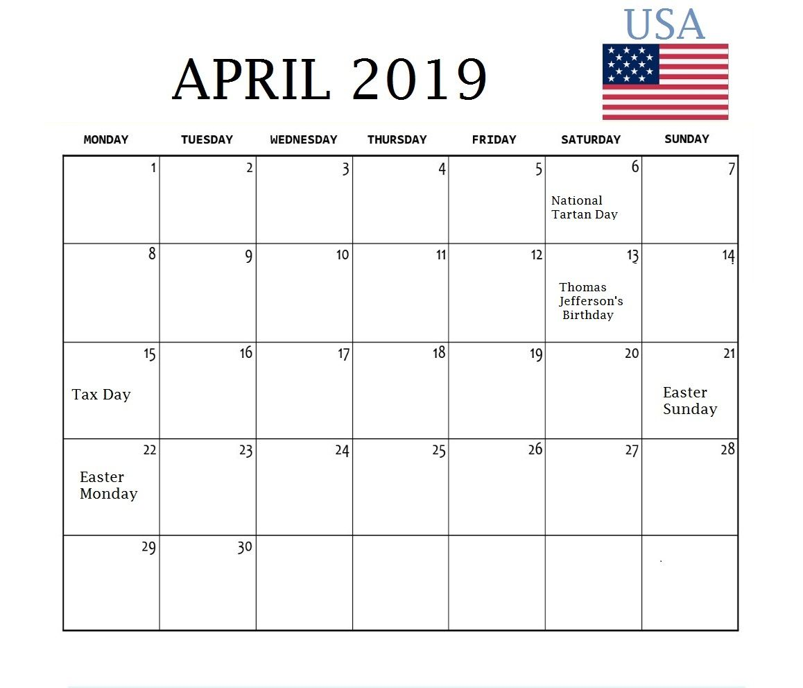 April 2019 Calendar With Holidays USA