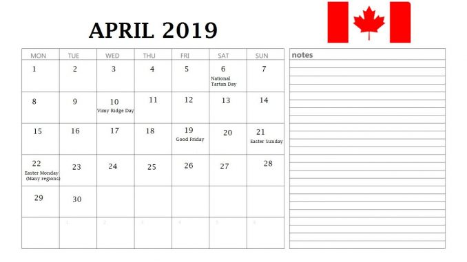 April 2019 Canada Holidays Calendar With Notes