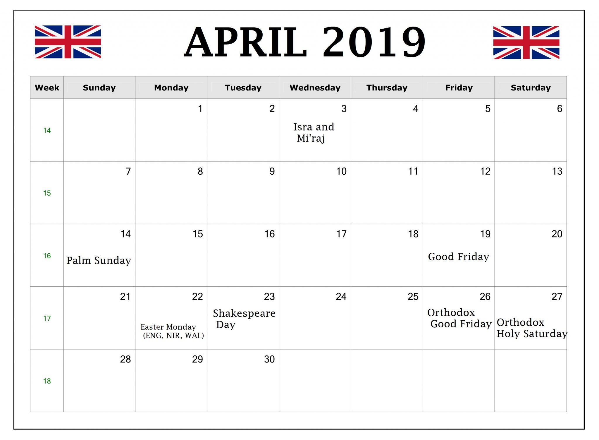 April 2019 United Kingdom Holidays Calendar (UK)