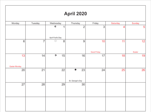 April 2020 Calendar Printable with Bank Holidays UK Landscape