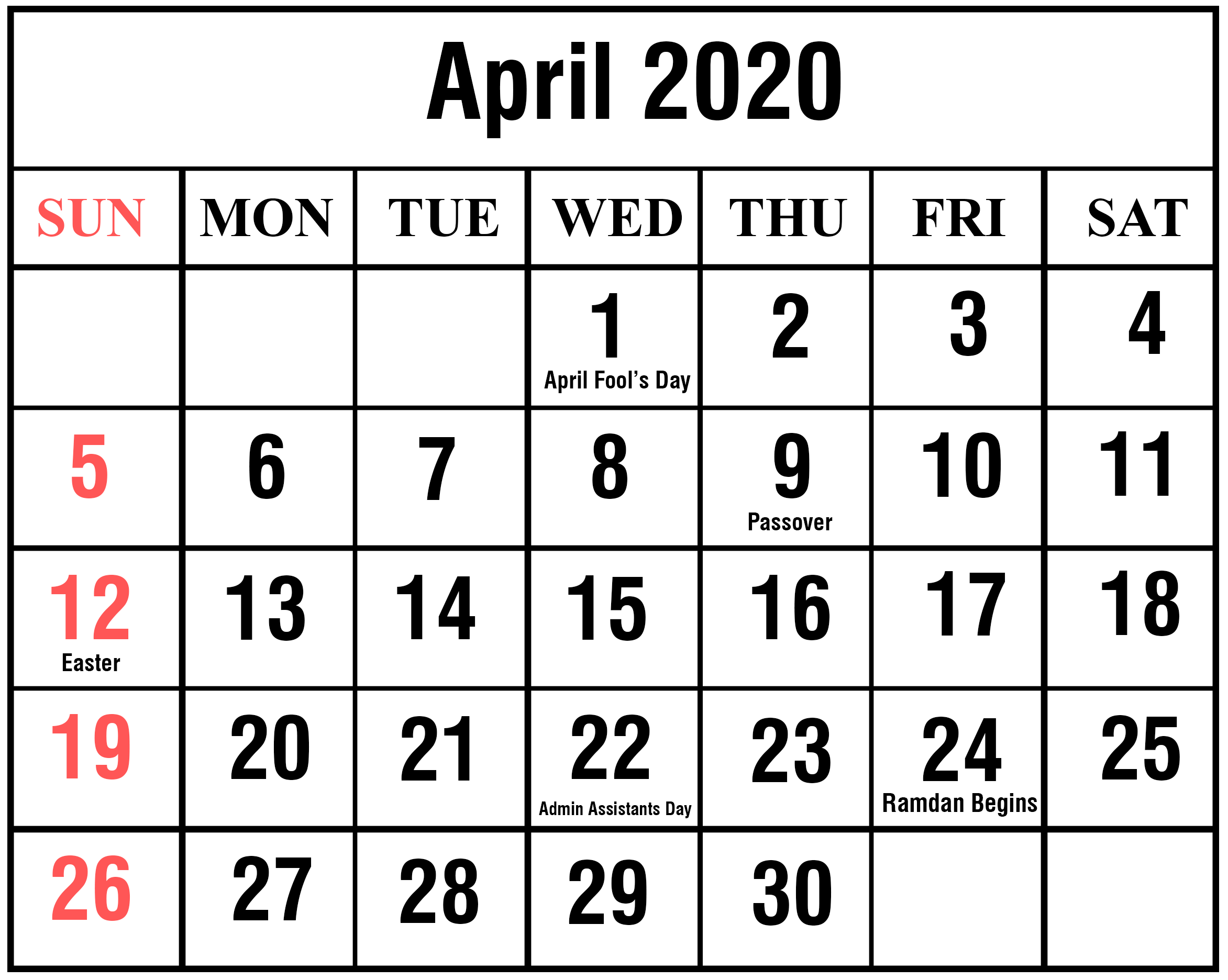 April 2020 Calendar With Holidays Australia