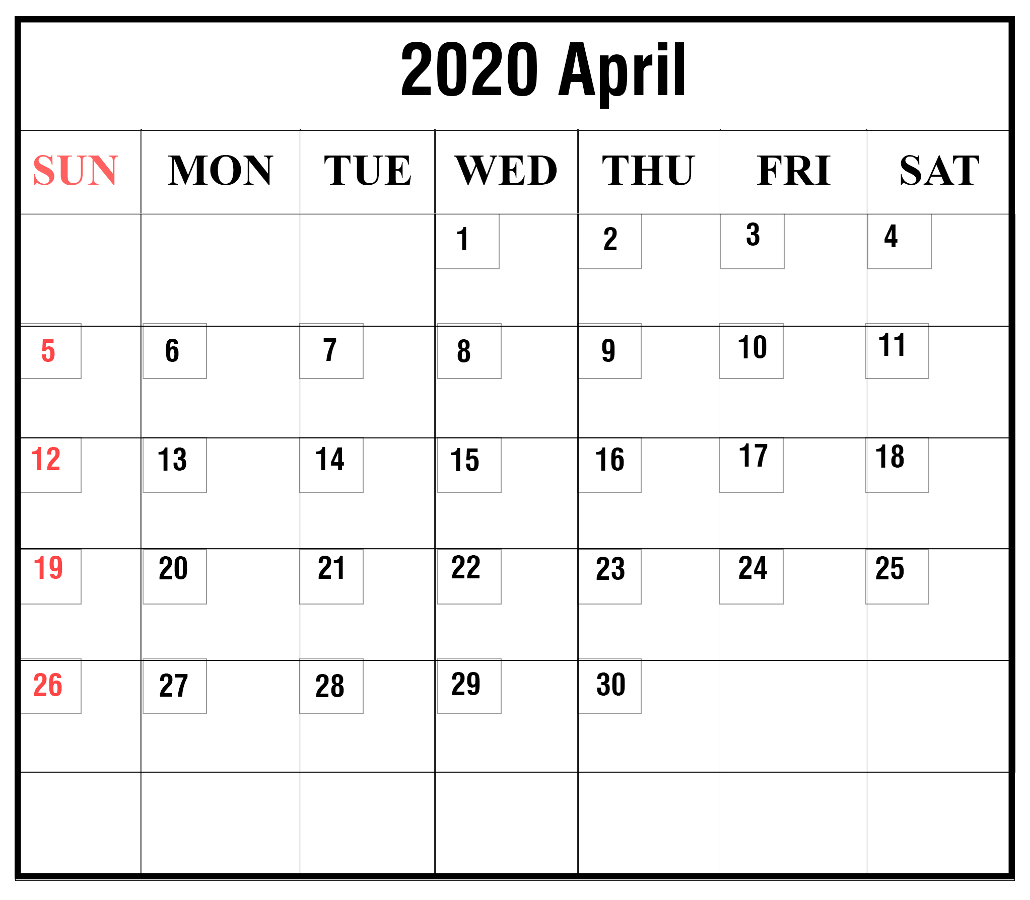 April 2020 Calendar With Holidays India