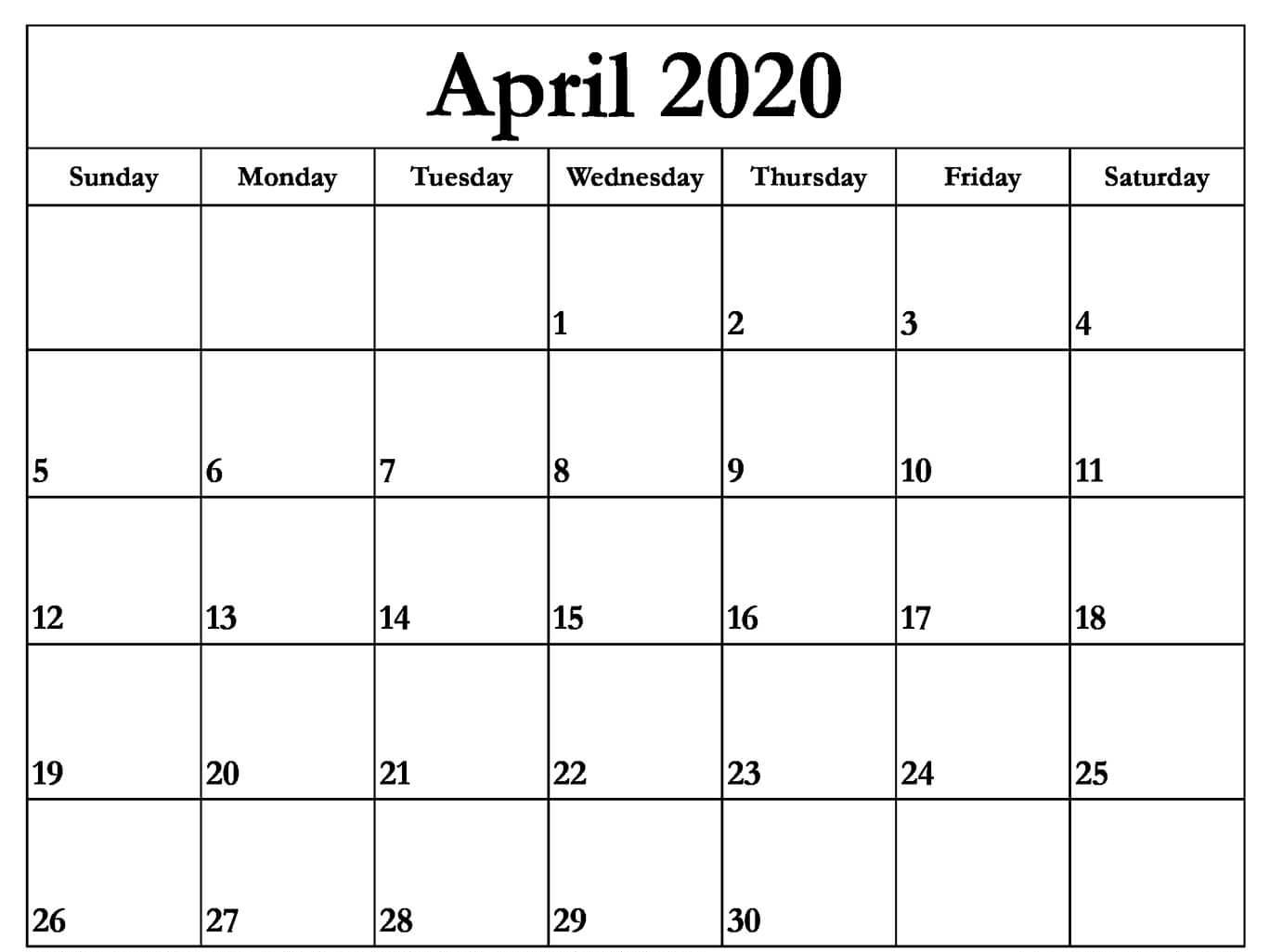 April 2020 Calendar with Holidays UK