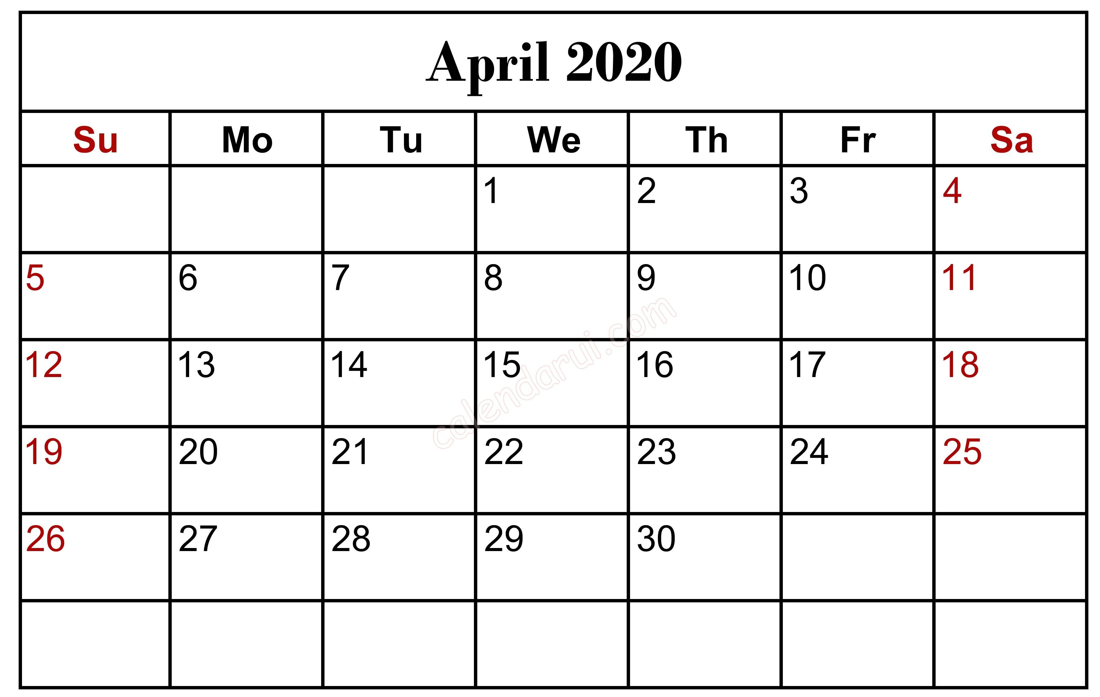 April 2020 Calendar With Holidays US