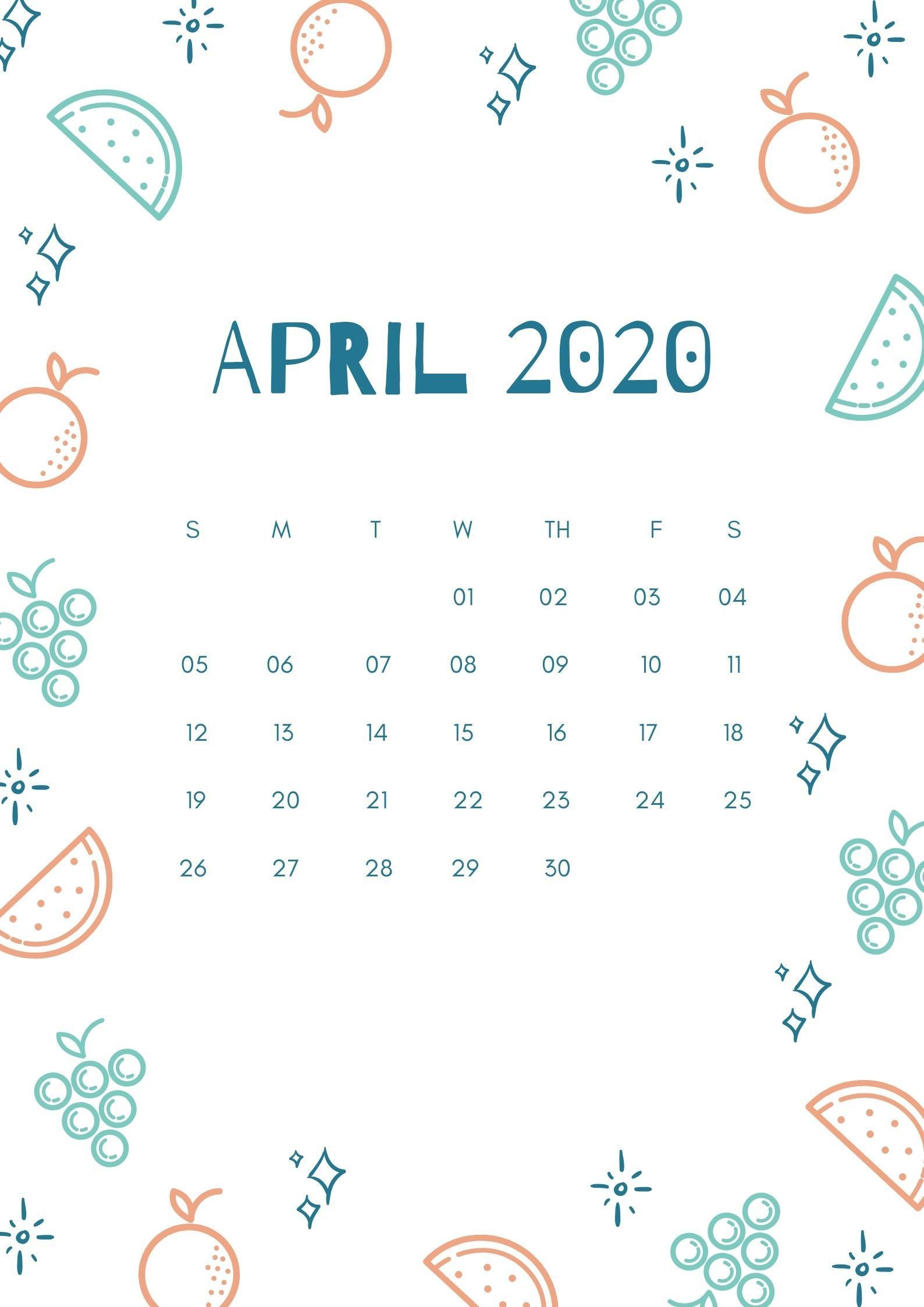 April 2020 Calendar Editable Templates