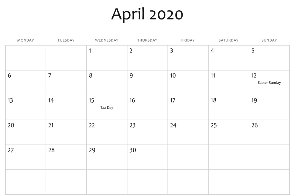 April 2020 Editable Calendar With Holidays