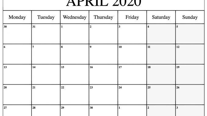 April 2020 Monthly Calendar Printable Template