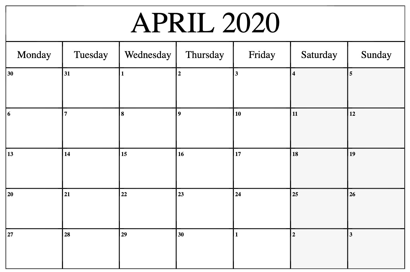 April 2020 Monthly Calendar Printable Template