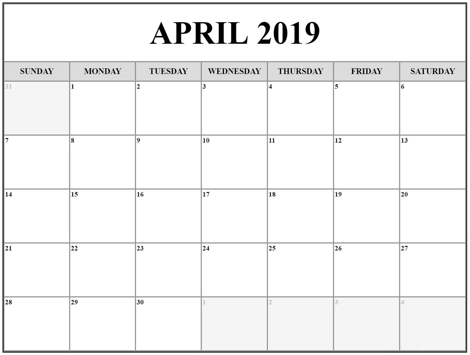 April Calendar 2019 Template