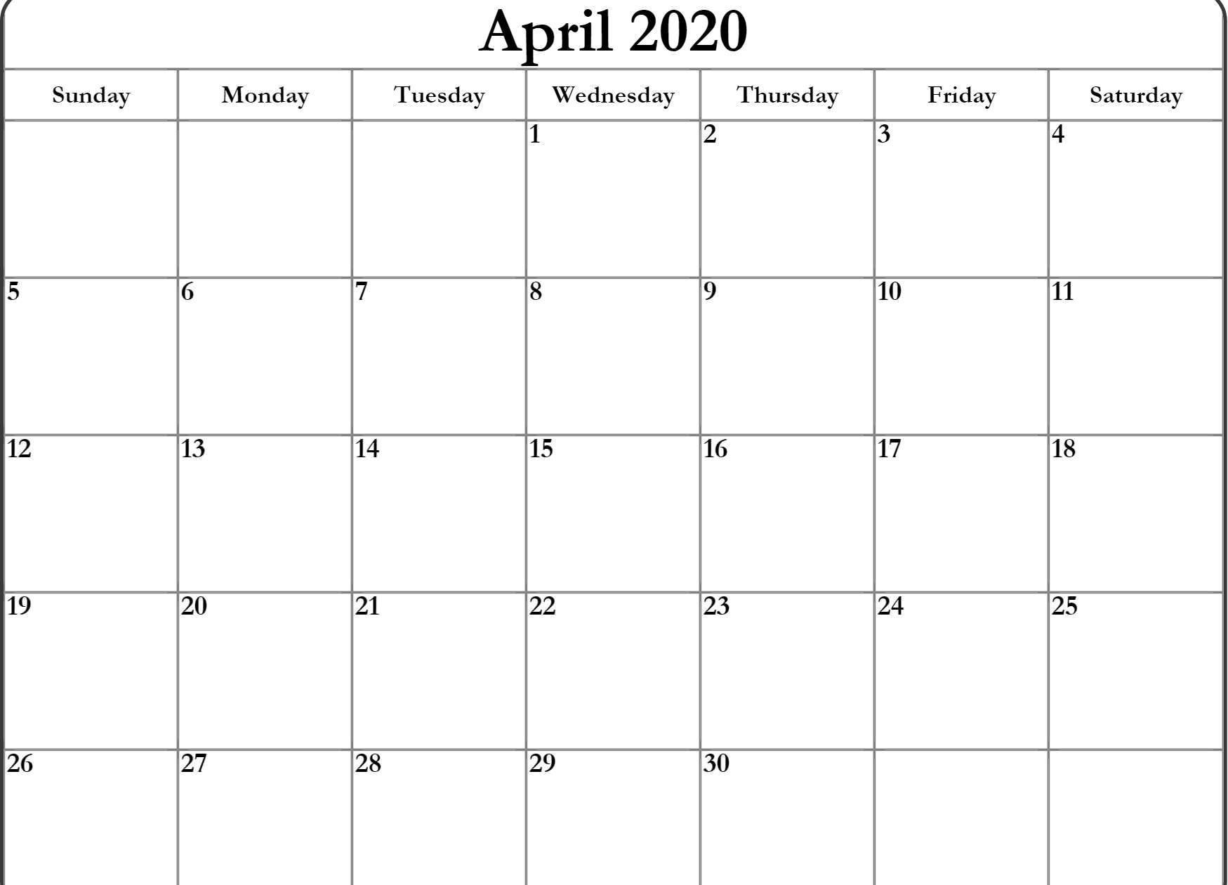 April Calendar 2020 Excel