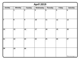 Blank April 2019 Calendar Template