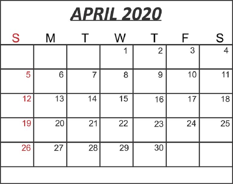 Blank April 2020 Calendar Word