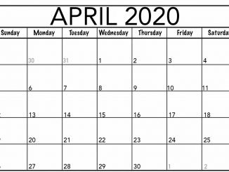 Blank April Fillable Calendar 2020