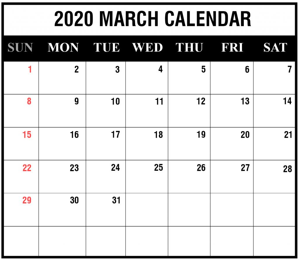 Blank March 2020 Calendar Editable