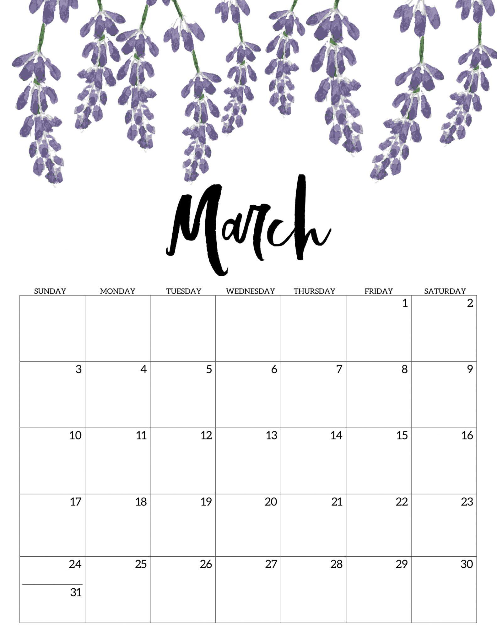 Blank March Calendar 2020 PDF