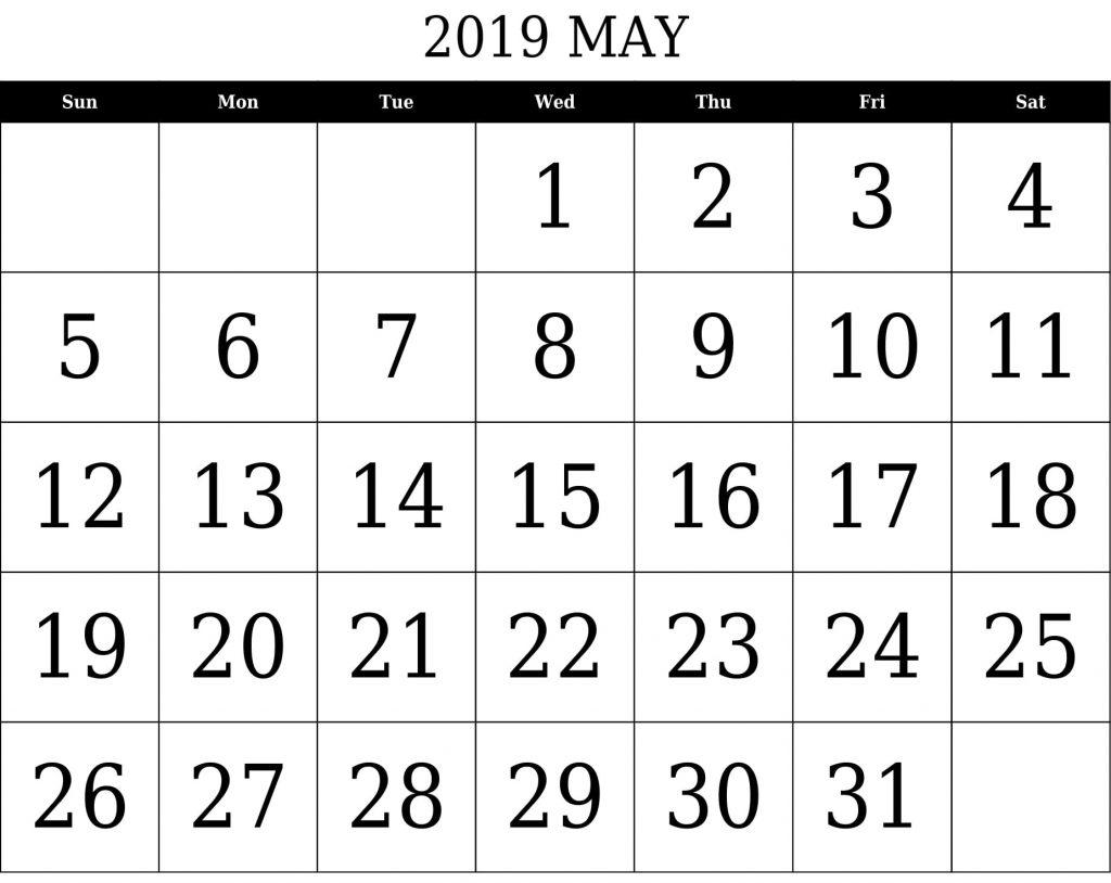 Blank May 2019 Calendar Editable