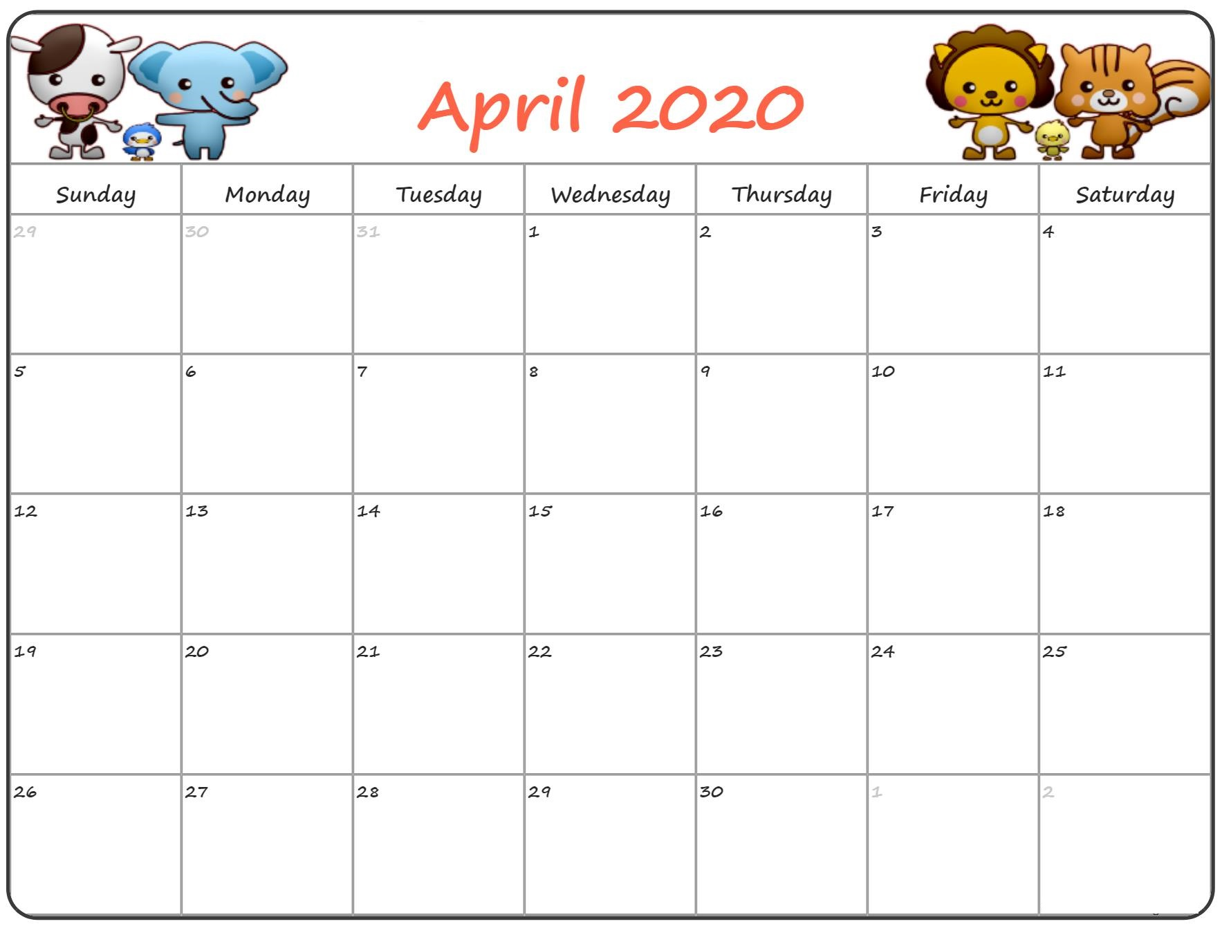 Cute April 2020 Calendar Floral