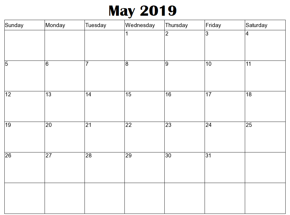 Download May 2019 Calendar Editable