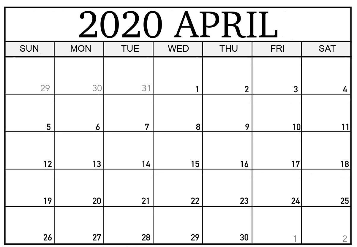Editable April 2020 Calendar Templates