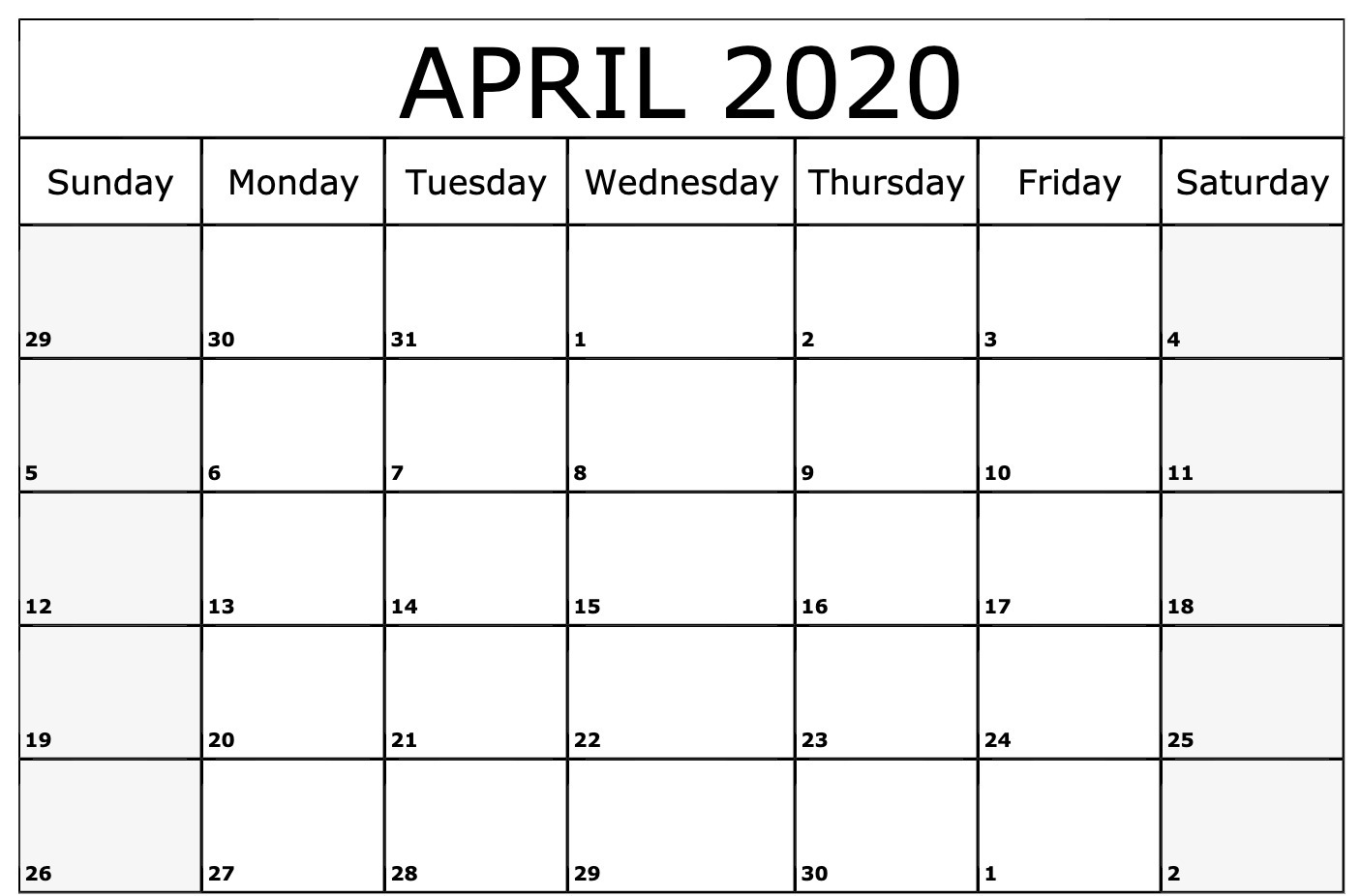 Editable April 2020 Printable Calendar Monthly PDF