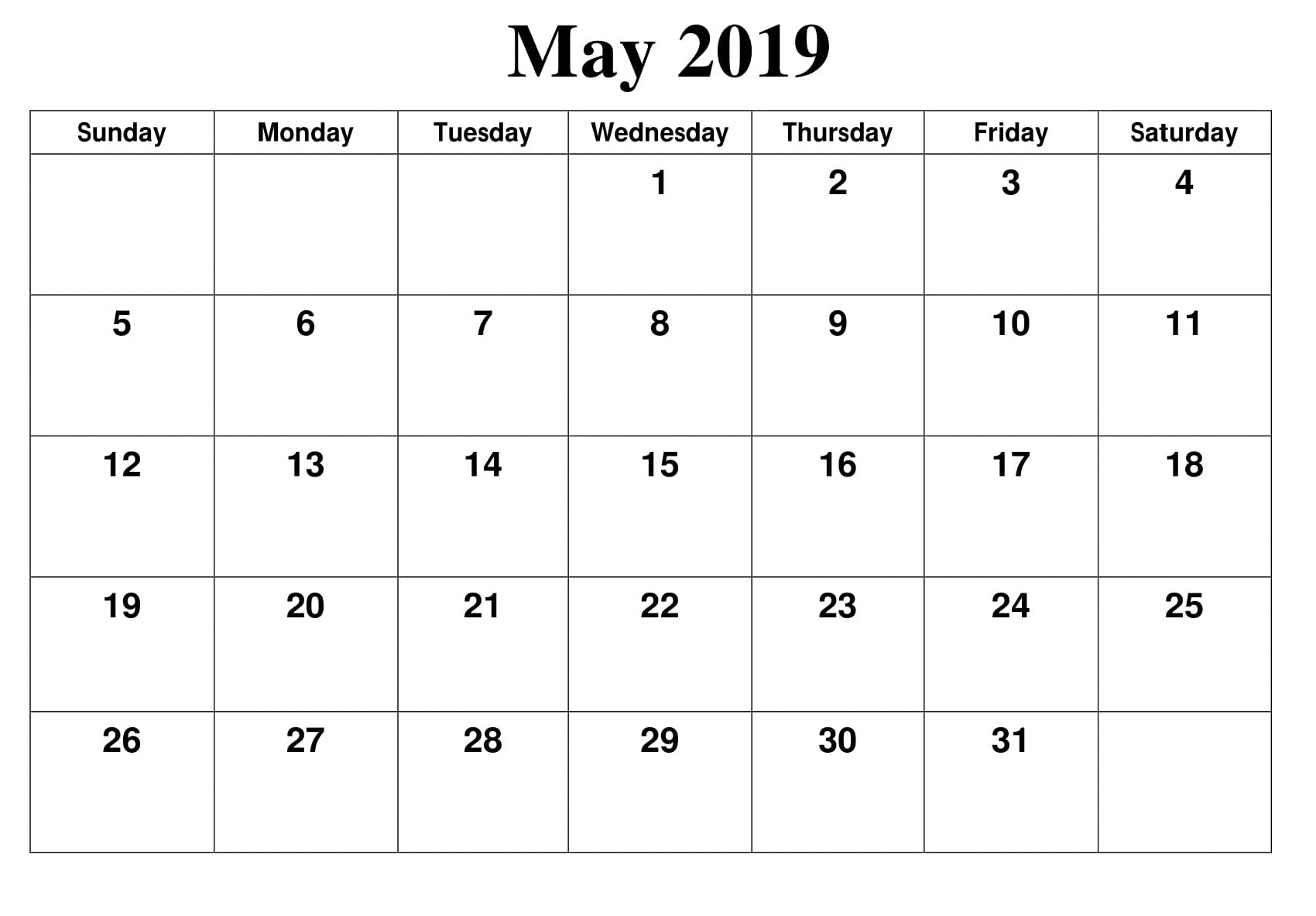 Editable May 2019 Blank Calendar Template Free August 2019