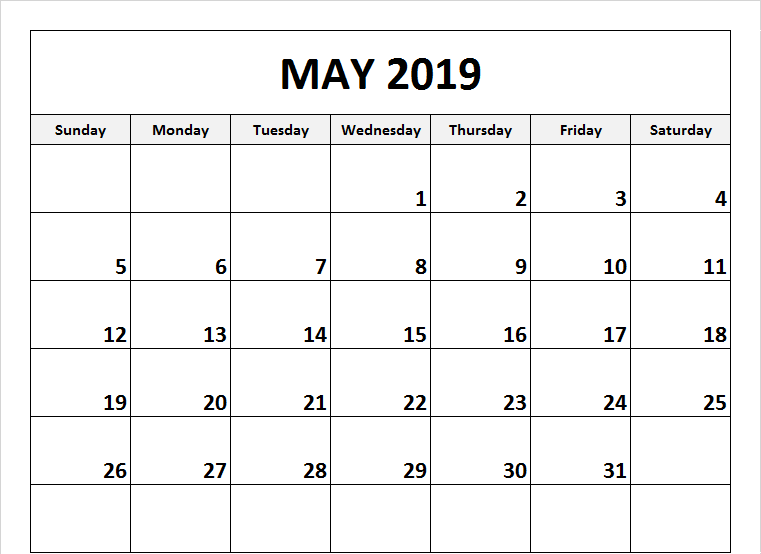 Editable May 2019 Calendar A4 Page
