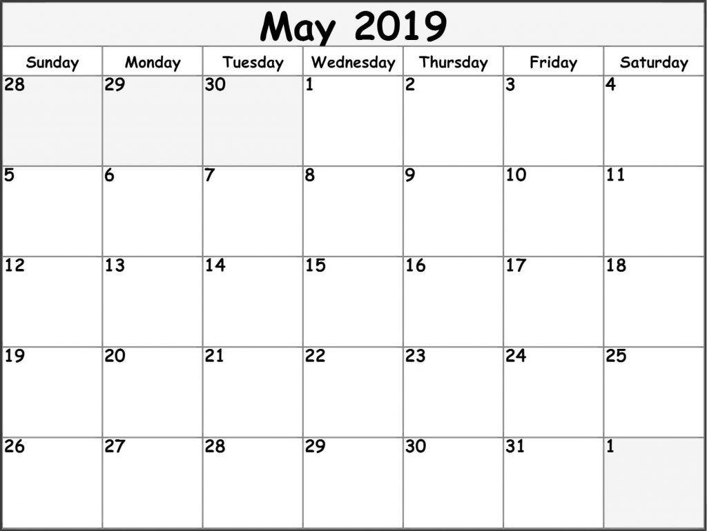 Editable May 2019 Calendar