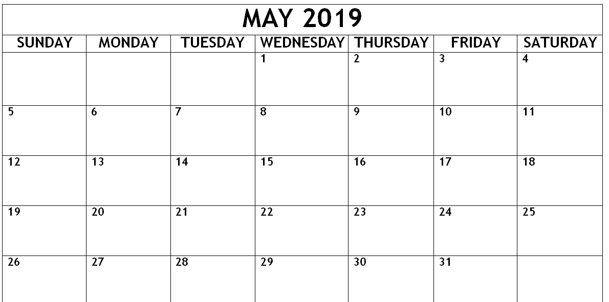 Editable May Calendar 2019 Template