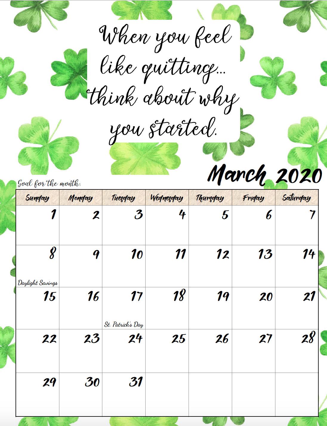 Floral 2020 March Calendar