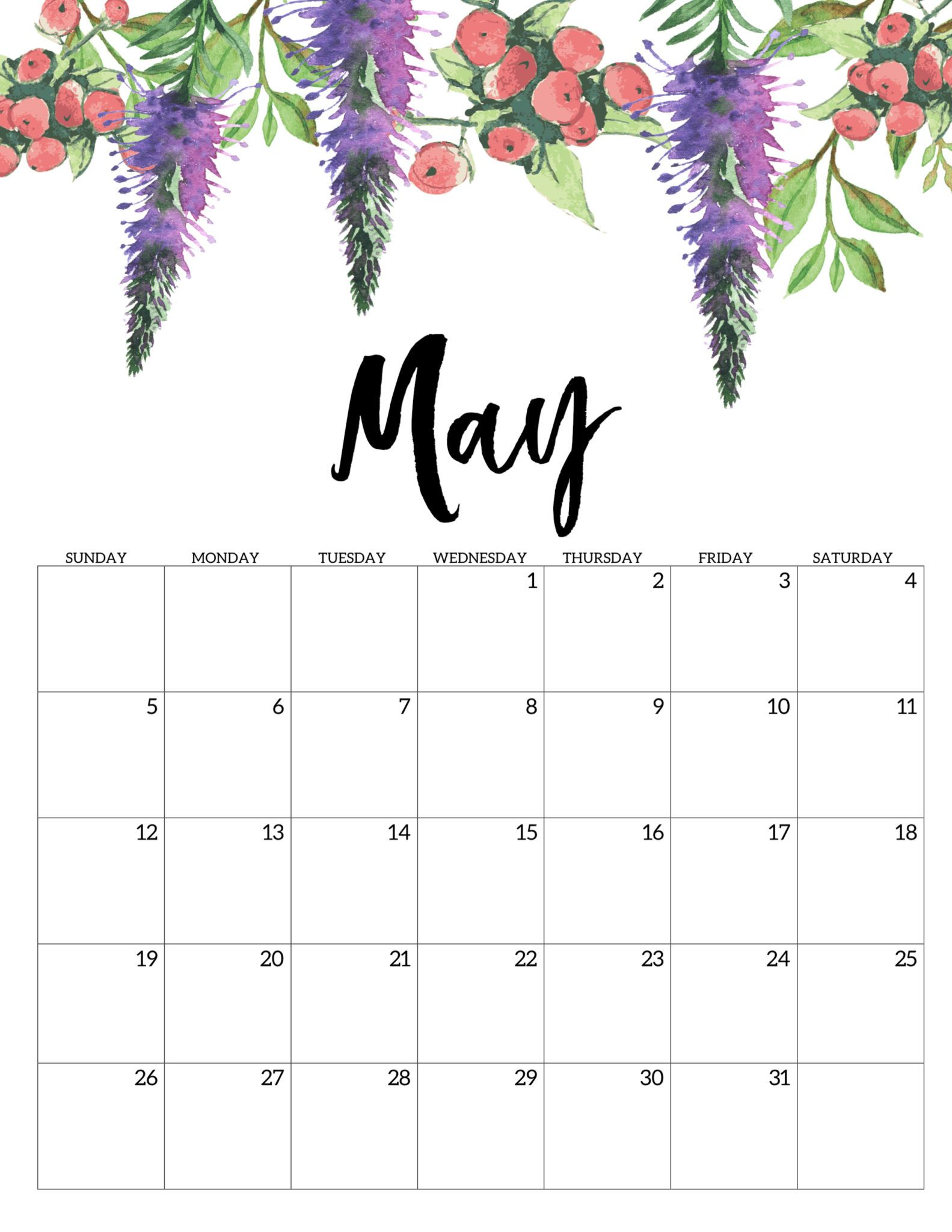 Floral Calendar Template May 2019
