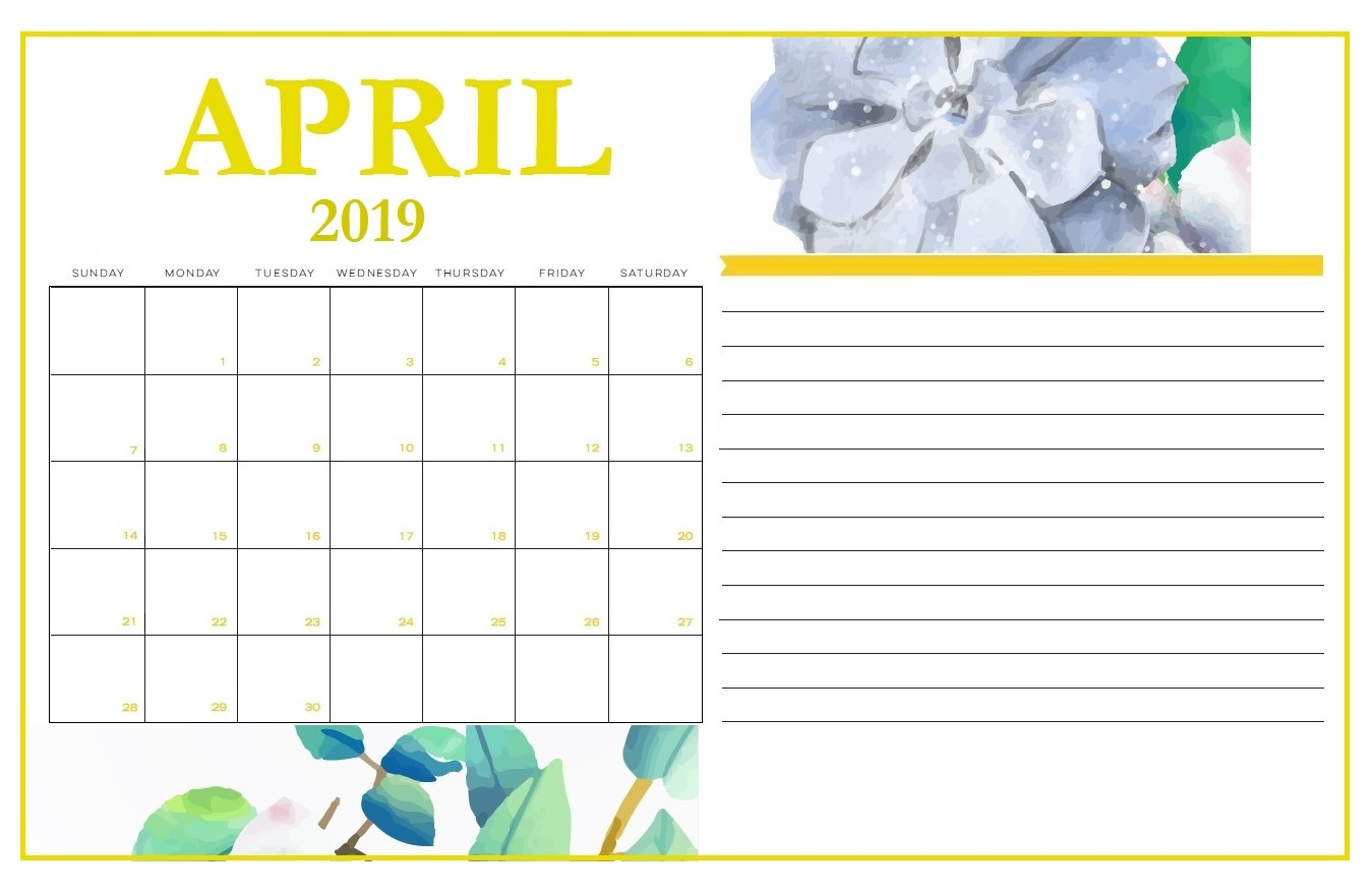 Floral Cute April 2019 Calendar Printable