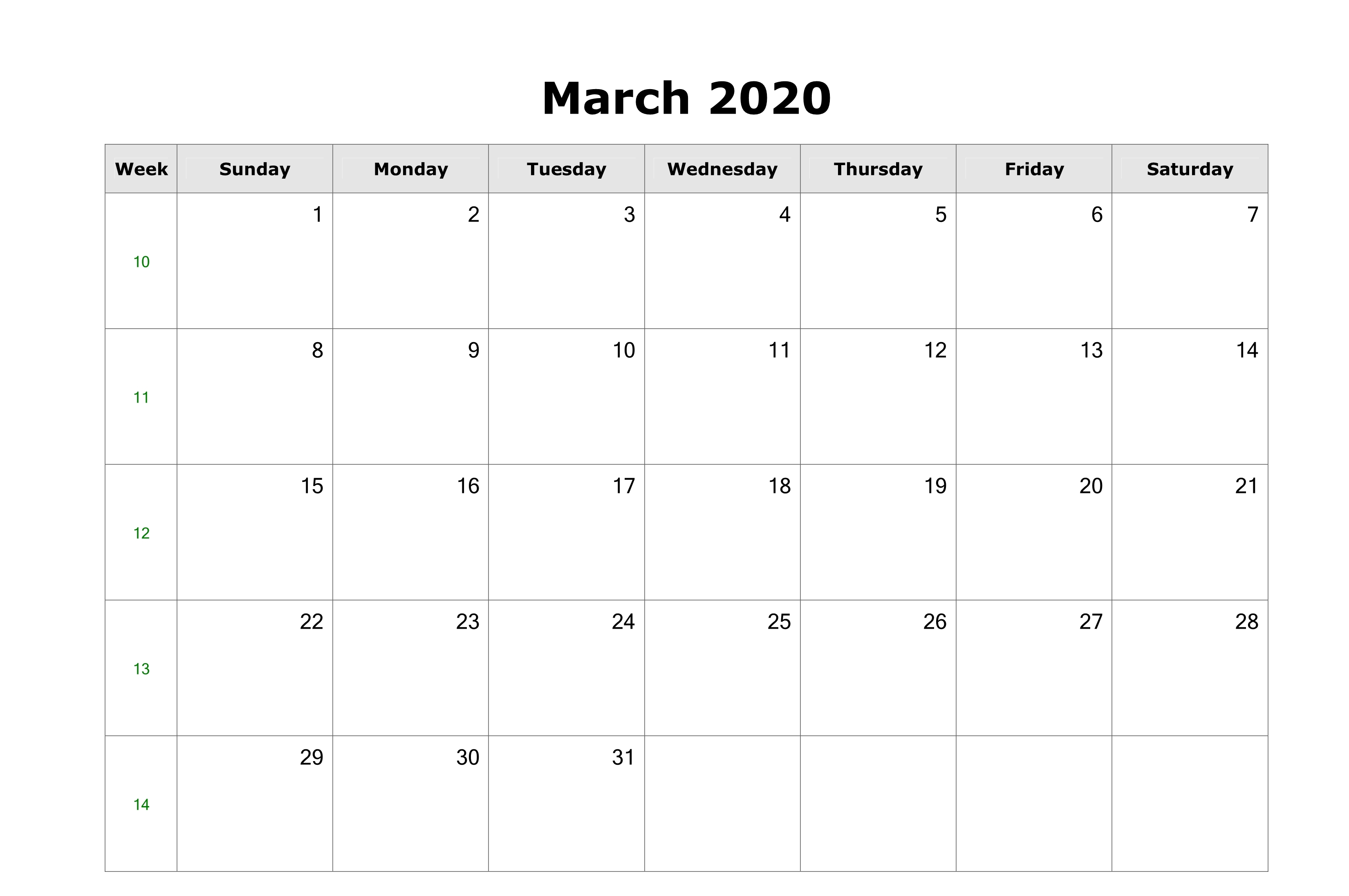 Free Monthly March 2020 Calendar Printable