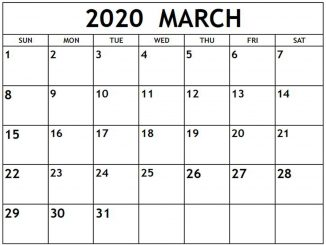 Free Monthly March 2020 Calendar Template