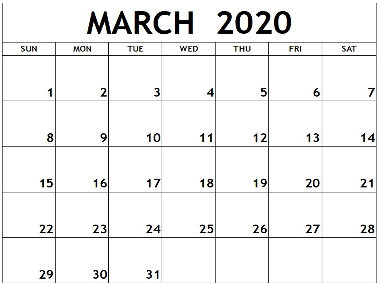 Free Monthly March 2020 Calendar