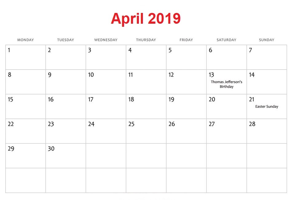 Holidays Calendar For April 2019