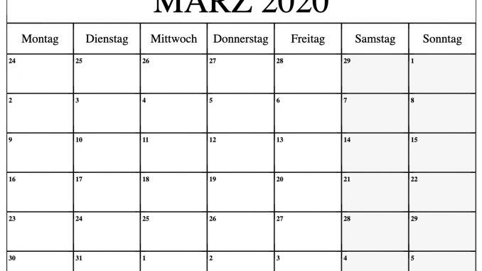 März 2020 Kalender PDF