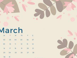 March 2020 Calendar Desktop Wallpaper