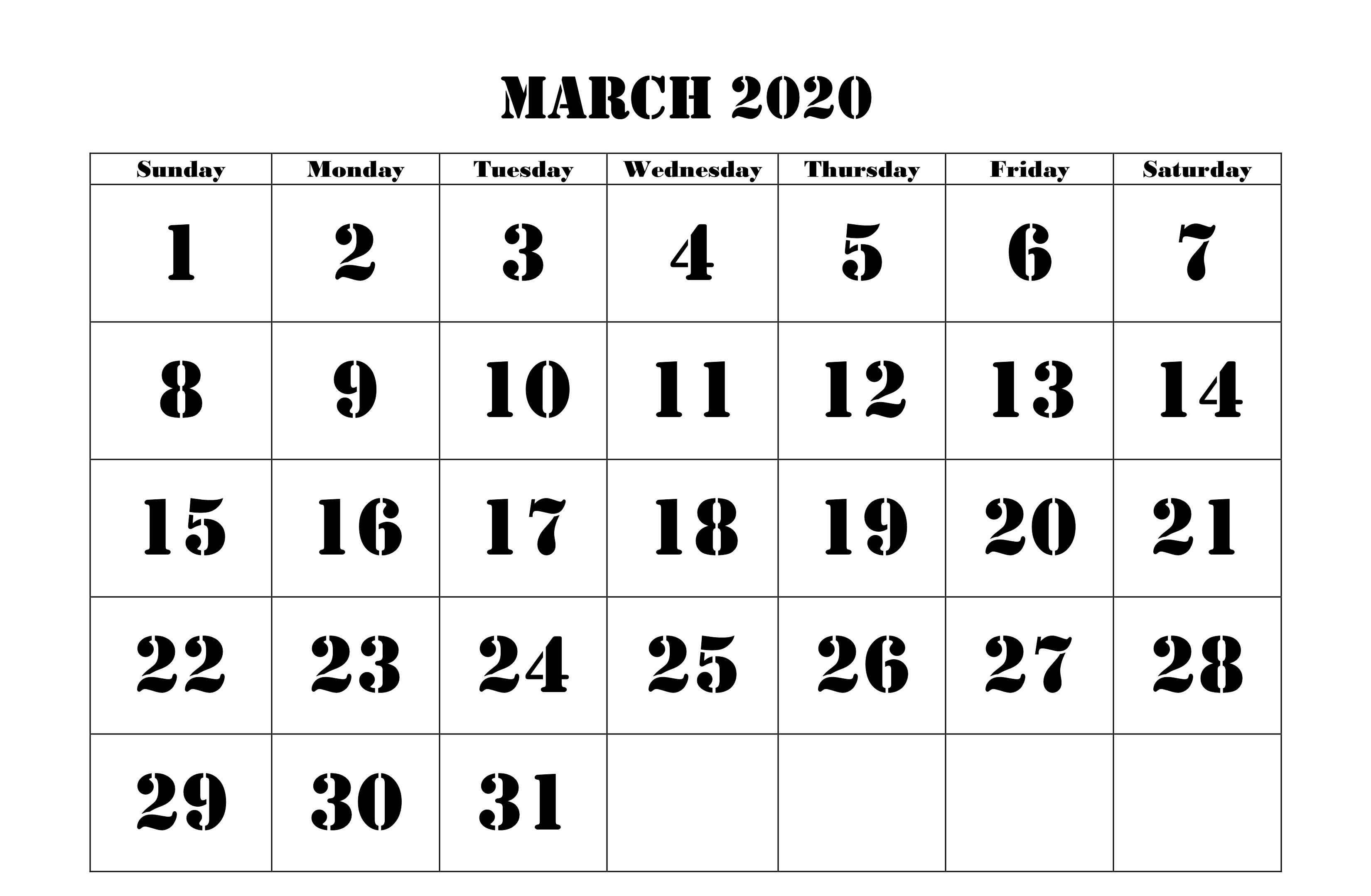 March 2020 Calendar Printable Excel