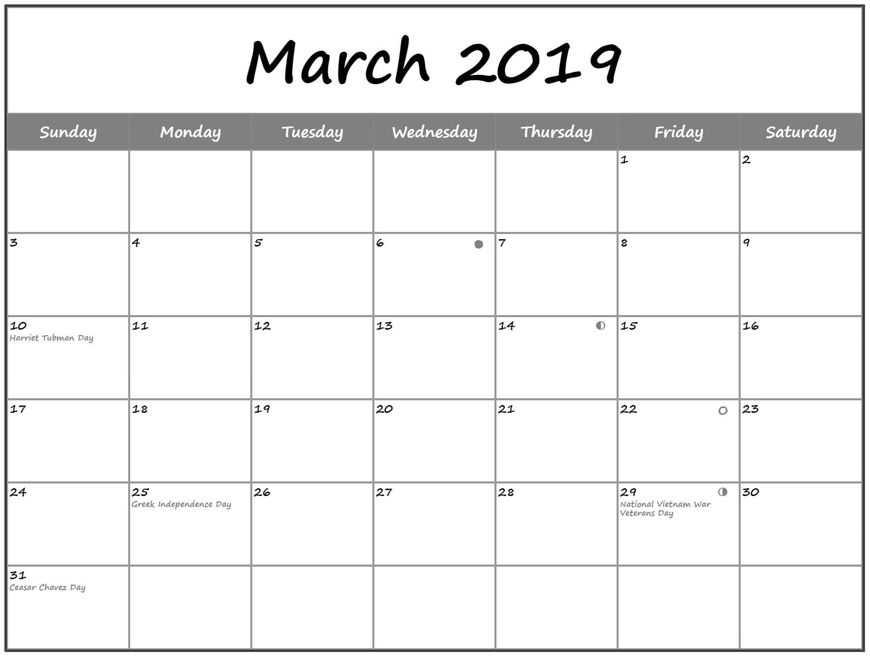 March 2020 Moon Calendar with Holidays