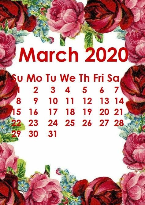 March 2020 iPhone Calendar Wallpaper