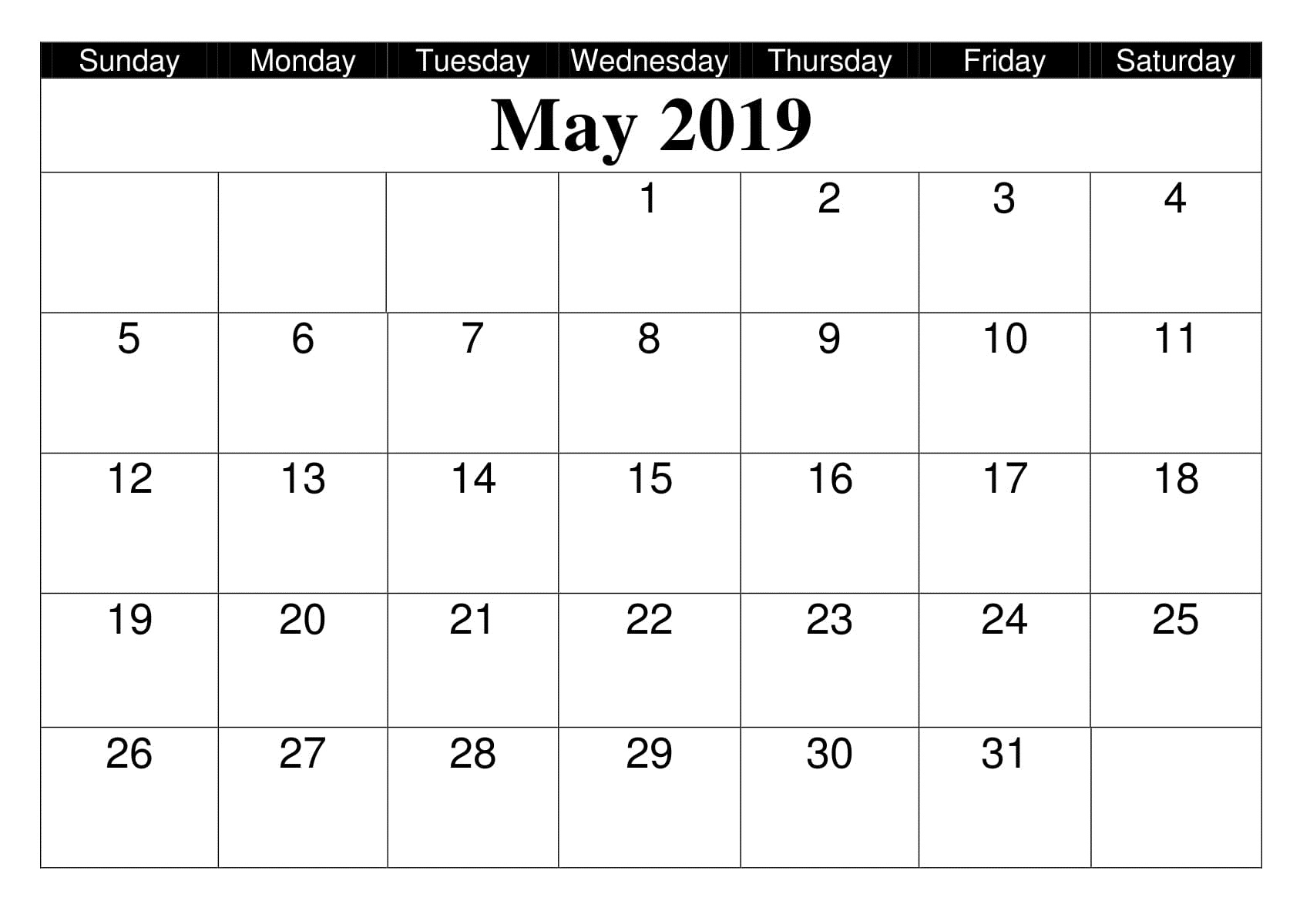 Calendrier Free 2019.May 2019 Calendar Editable Printable Free August 2019