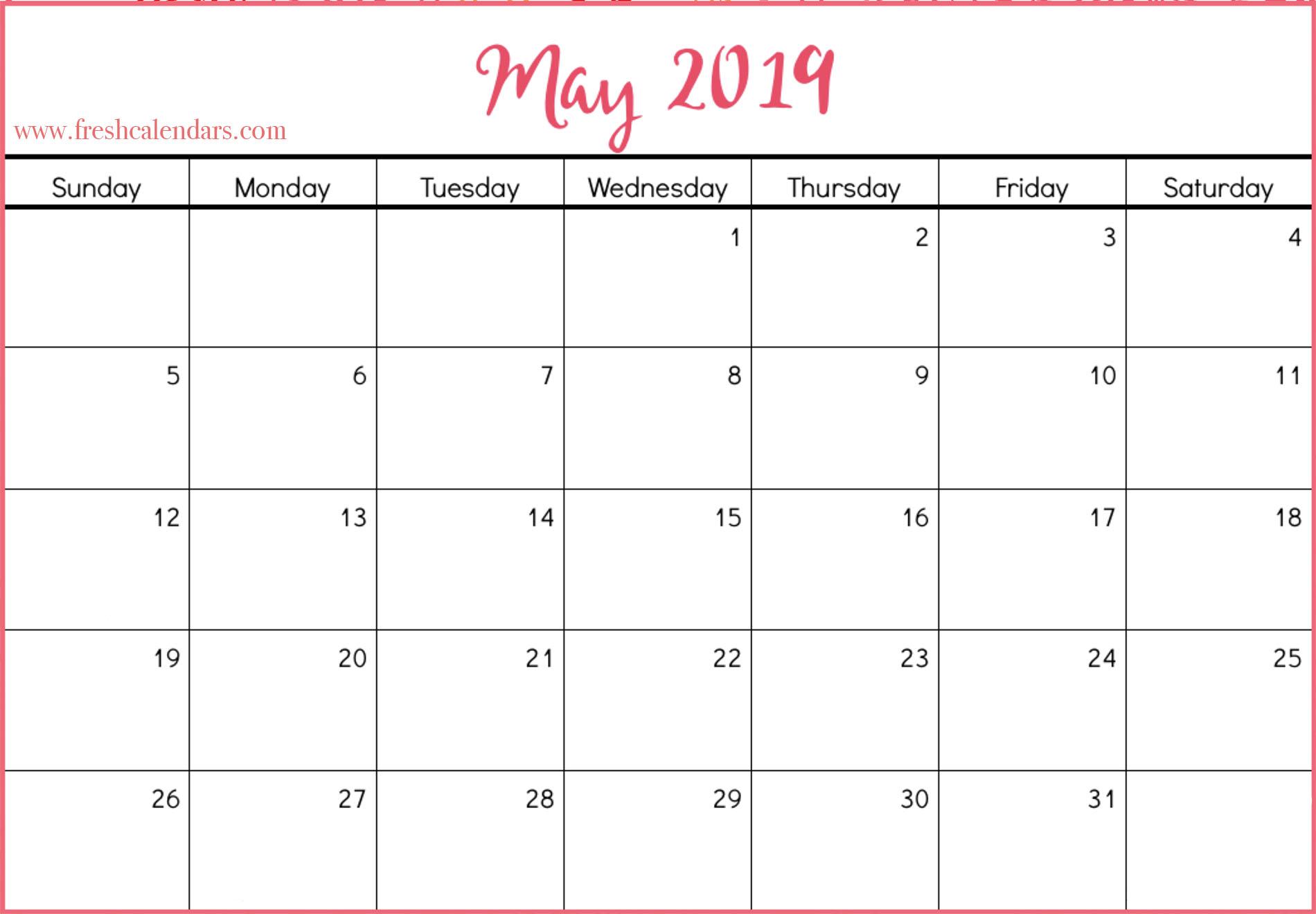 May 2019 Calendar Printable Template