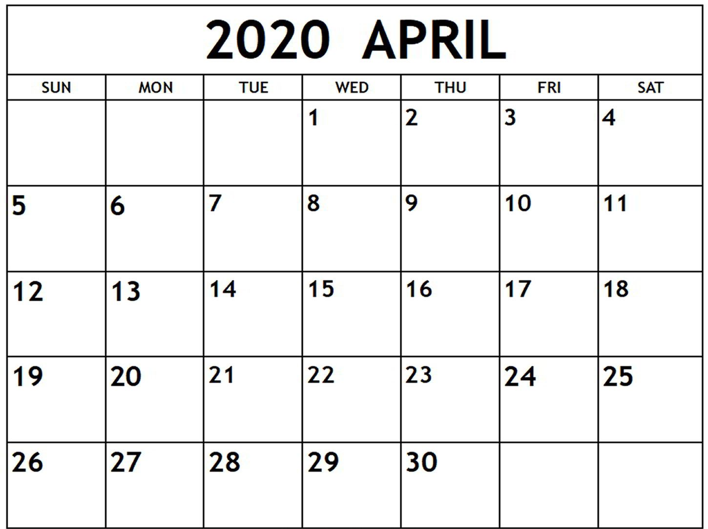 Monthly April 2020 Calendar